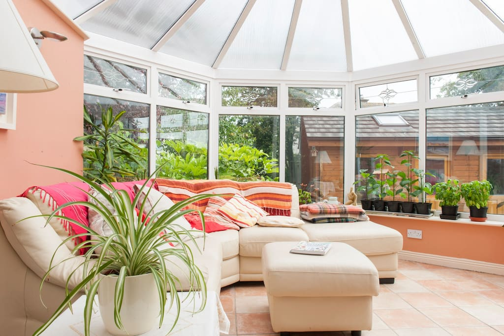 The conservatory is bright and airy even in winter.