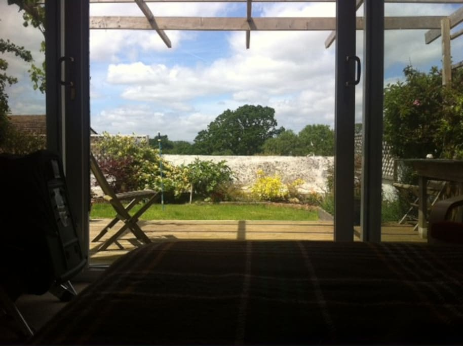 The view from the bed! straight out to the back garden.