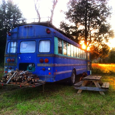 Purple bus on Cane Creek Farm in Saxapahaw - Graham