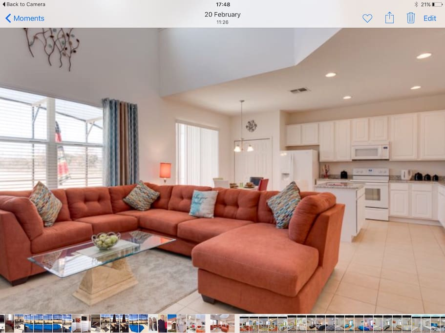 """Casual living area with 55"""" tv and sound bar"""
