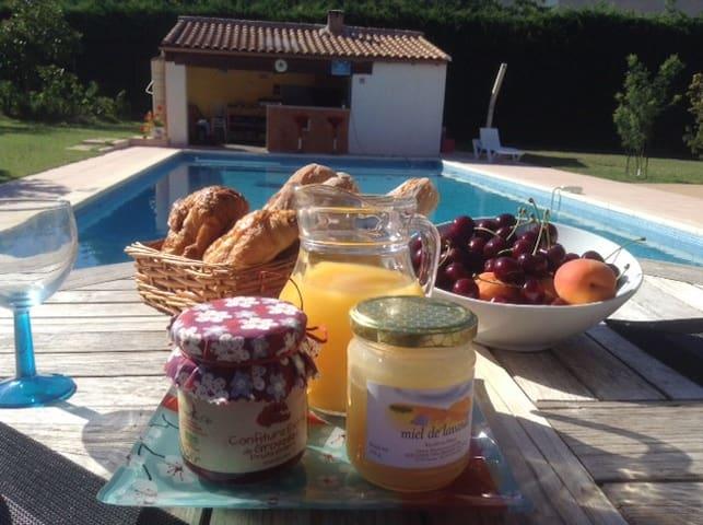 chambre d'hôte sur piscine/jardin méditerranéen - Saint-Clément-de-Rivière - Bed & Breakfast