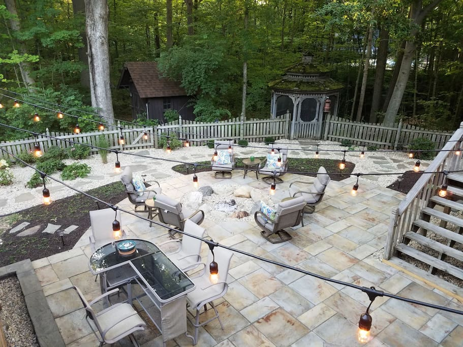 Beautiful paver patio extends outdoor entertaining in a private setting.