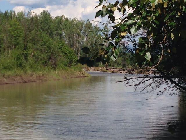 En été on traverse sans se mouiller les pieds sur l'île pour avoir accès à la rivière Bulkley