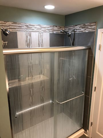 Master Shower with dual heads.