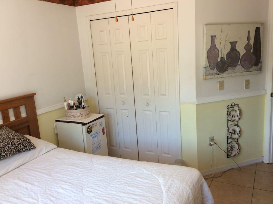 Room 2 has mini refrigerator