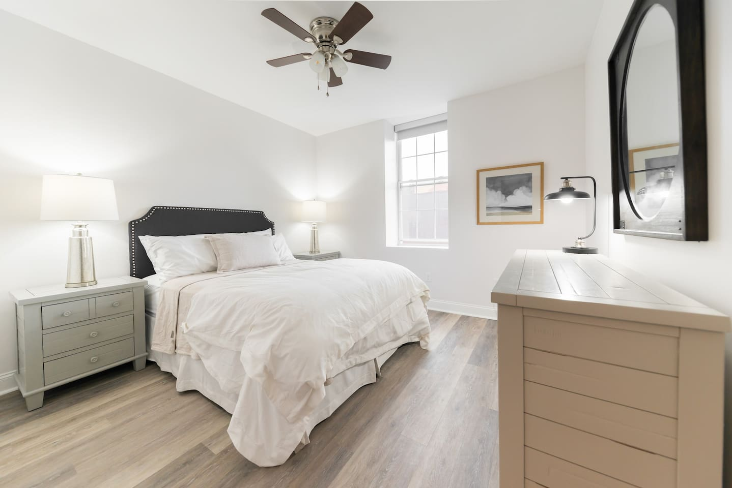 Bright, well furnished queen bedroom