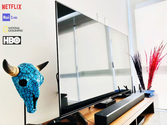 """SmartTv 55"""" 4k Sony Bravia XF90.  60 mb/s Fiber Optic internet and 5G wifi. 300 Pay per view channels .Free Netflix 4K Version and And Privacy Curtains for Privacy Lovers"""