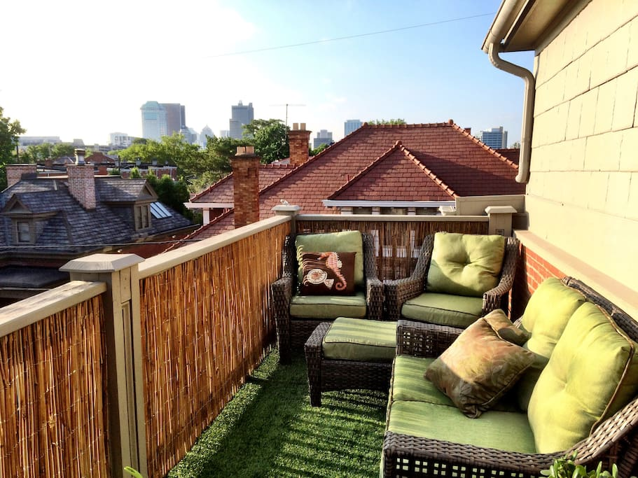 Private rooftop deck with great views of German Village and Columbus.