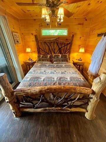 Queen bed with custom woodwork