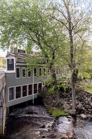 Our studio apartment is located above a completely renovated 19th century cider mill. There are views of the Sasco River below.