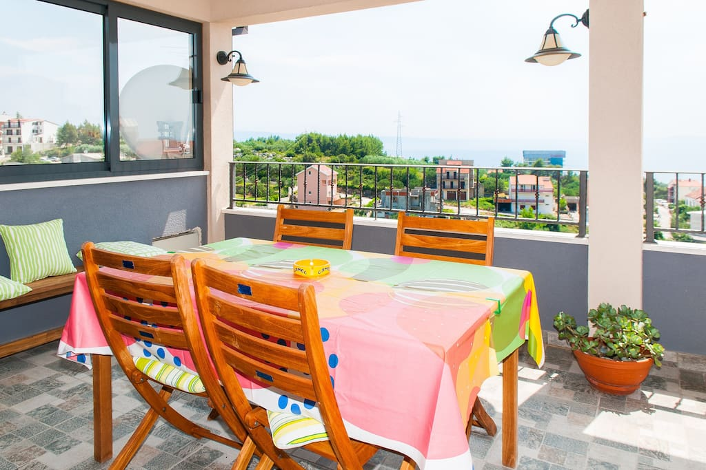 Big sunny terrace with seview for lazy afternoons