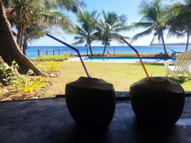 Ask our friendly gardener Edgar for a fresh coconut.
