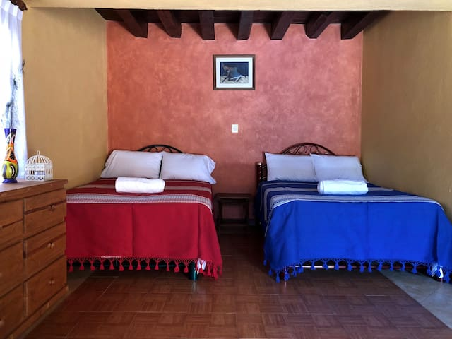 Comfortable triple bedroom, these beds have foam mattress, top quality.
