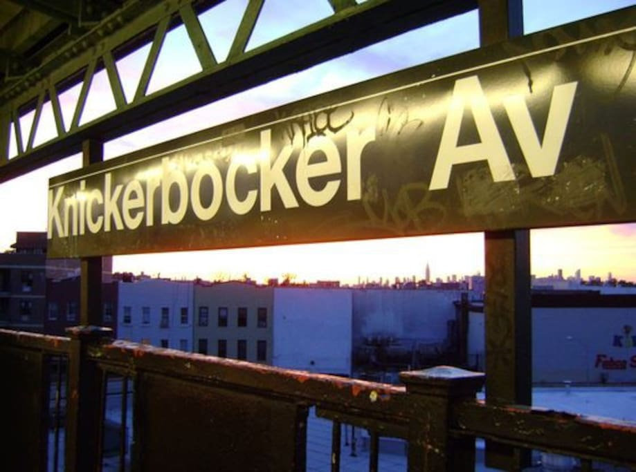 3 minute walk to Knickbocker M stop-- check out the skyline!