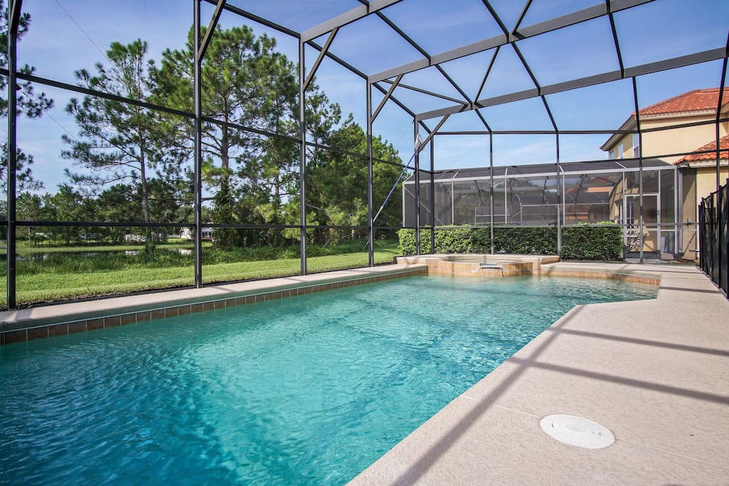 Large south-facing private pool overlooking conservation and lake