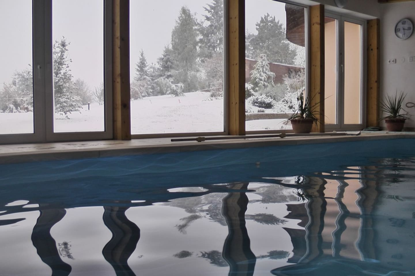Swimming pool house in winter