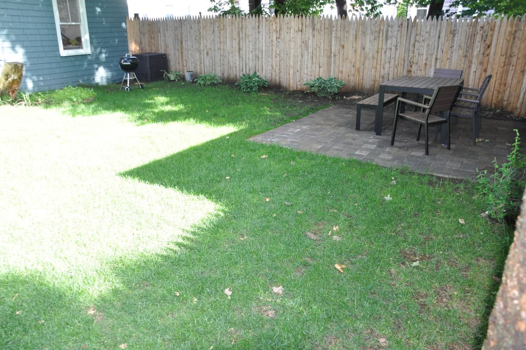 Back lawn, patio with dining table