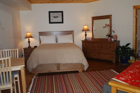 A Nice Tempurpedic Queen bed, table and dresser