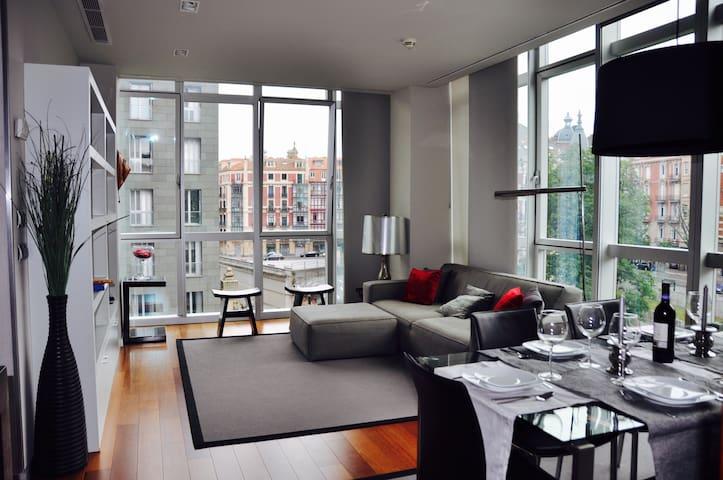 5★ Luxury. Downtown. Free Parking. 2BD+2BTH. - Bilbao - Apartment
