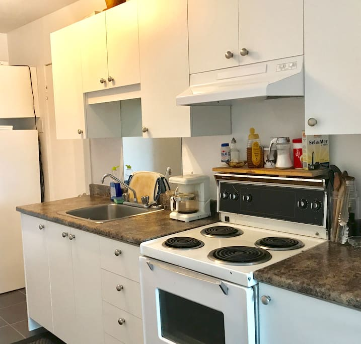 Small convenient kitchen. Oven/fridge/microwave/coffee machine.