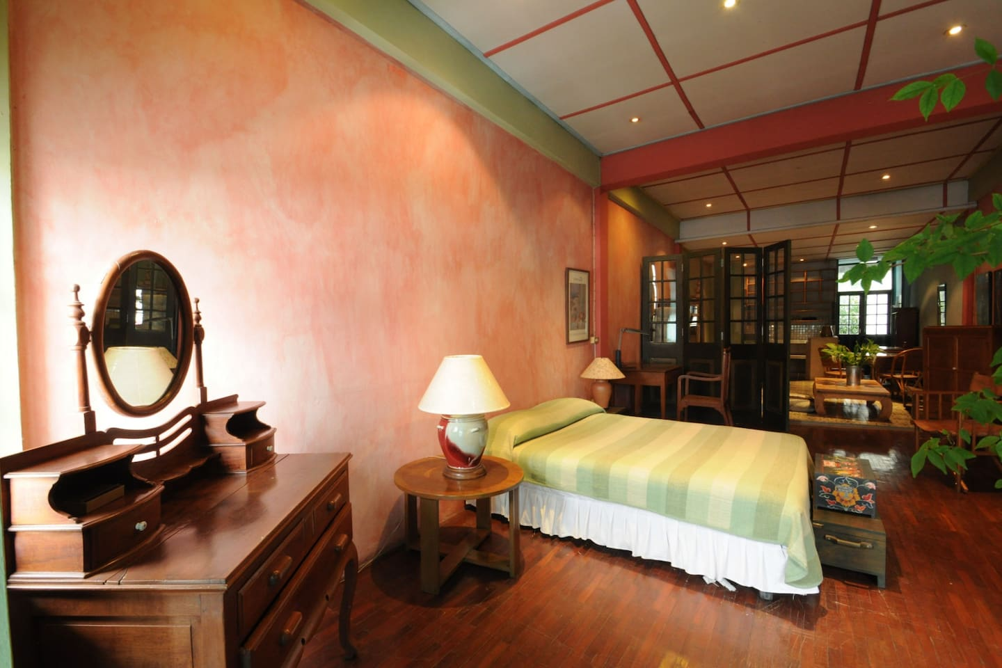 View of sleeping area with our antique collection