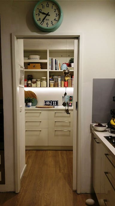 Butlers pantry with lots of bench space and second bench top oven