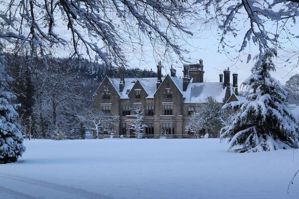 Llantysilio Hall in snow