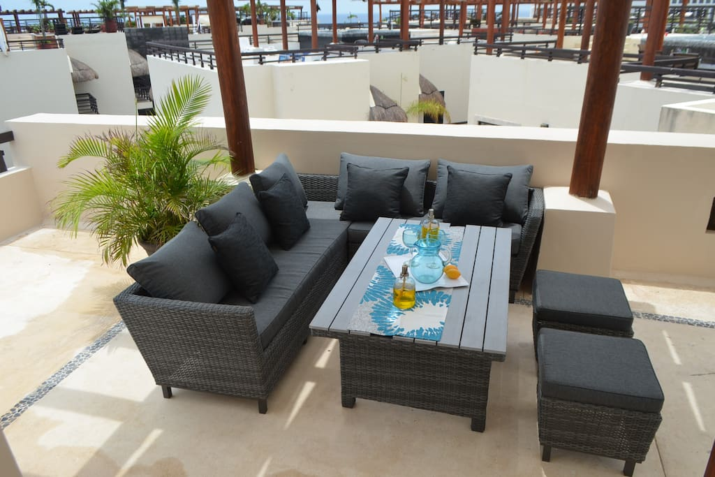 Dining Area on Private Rooftop w/Partial Ocean View