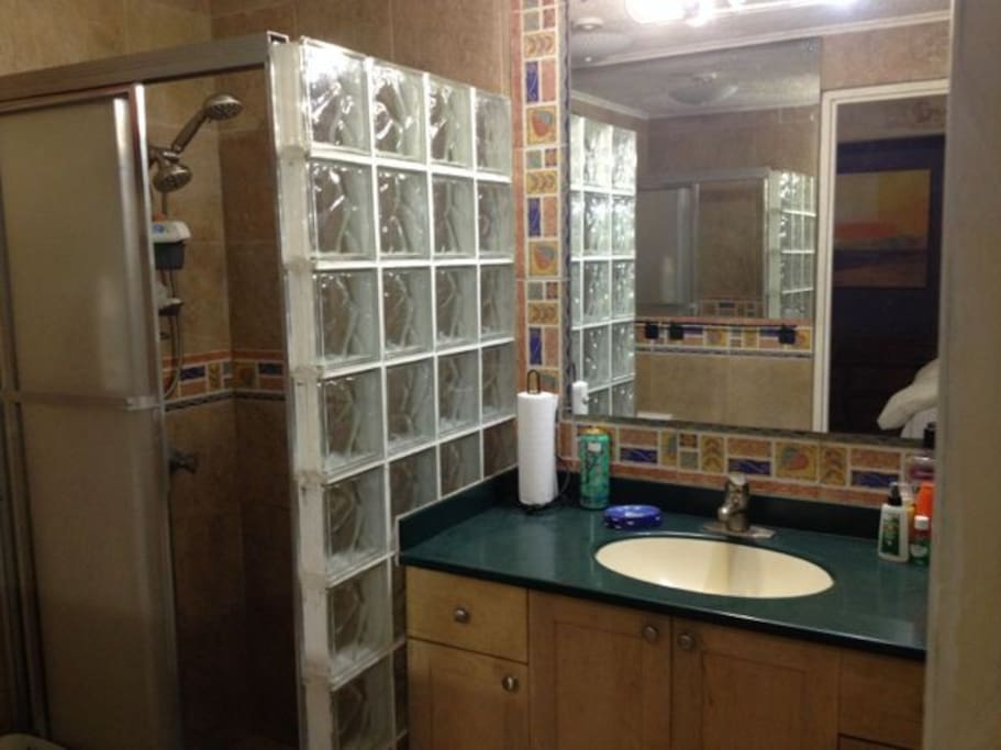 Bathroom with shower,toilet and basin