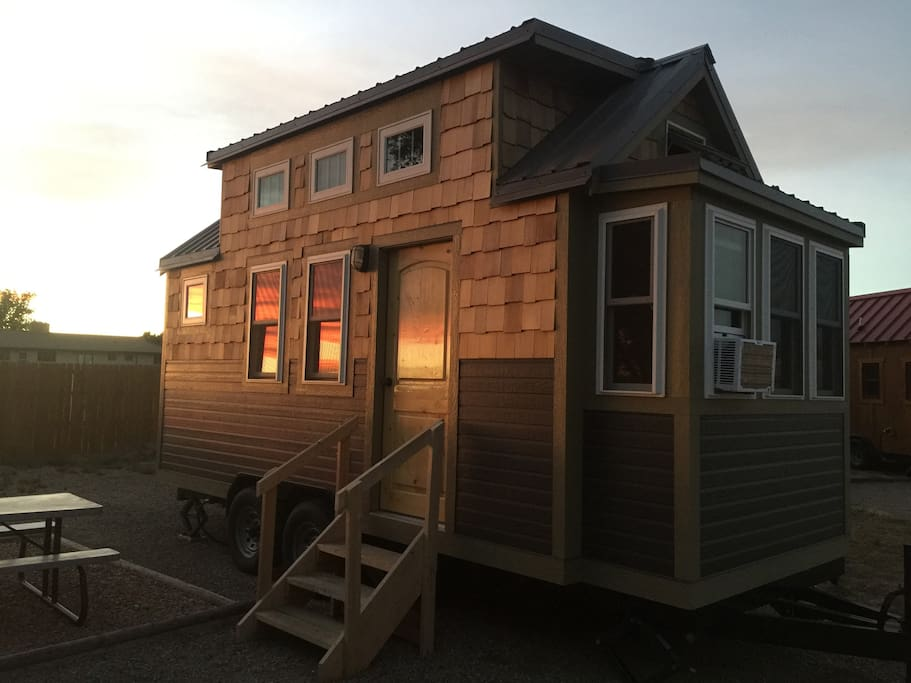 A Tiny Home soaking up the Colorado sunset...!