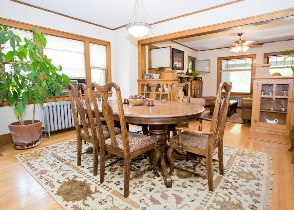 Dining room with table and chairs with seating for eight
