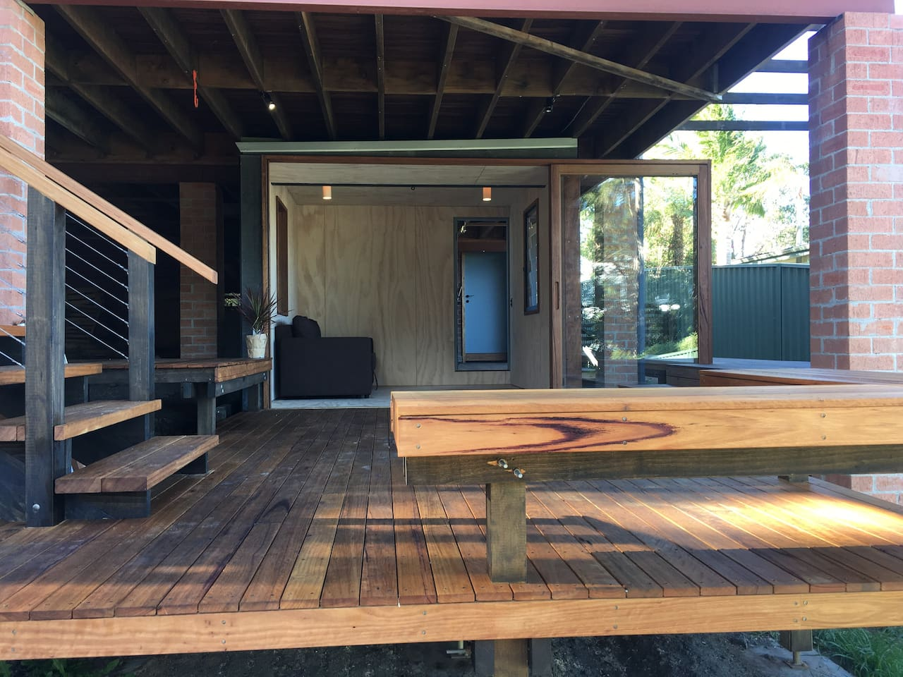 Deck and living room