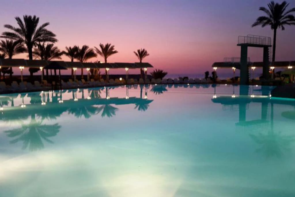 Resort pool by night