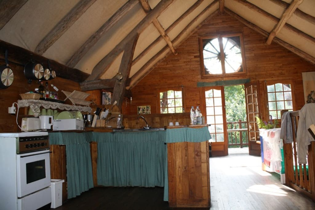 Interior of Wagonwheel Cottage - kitchen and living area