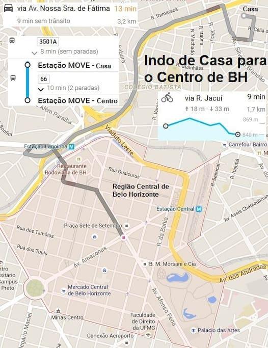 Fácil acesso ao centro de BH, com inúmeras opções de ônibus dia, noite e madrugada há menos de 200m de distância.
