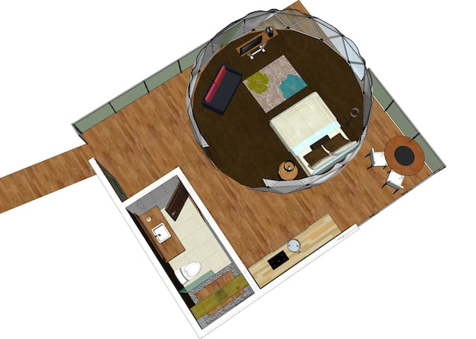 Golden toad unit distribution: includes full equipped kitchen, sofa bed, private bathroom, outdoor dining table, queen bed.