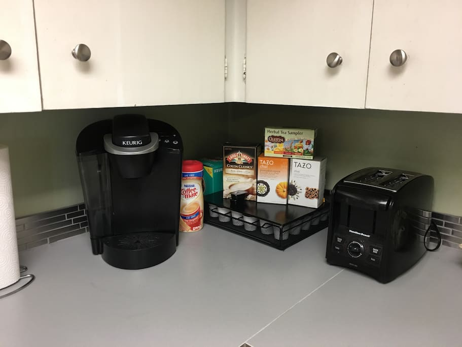 Coffee and tea are fully stocked.