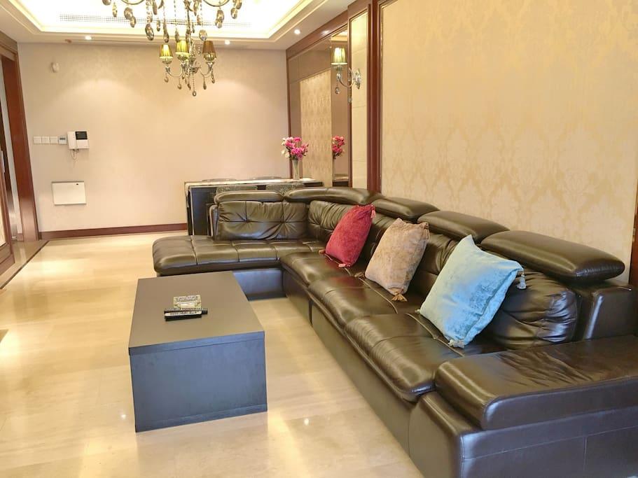 客厅舒适真皮沙发