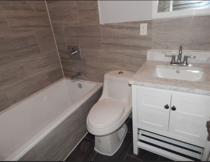 High end bathroom with digital reading for perfect temperature shower or bath!