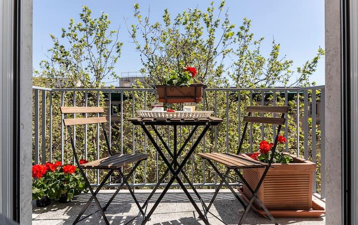 Dachgeschoss Trastevere Dreibettzimmer mit Balkon