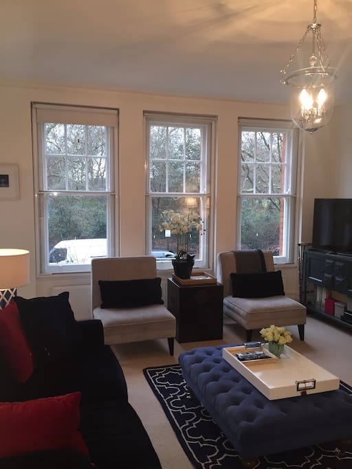 Livingroom - enjoy breakfast with views over Battersea Park
