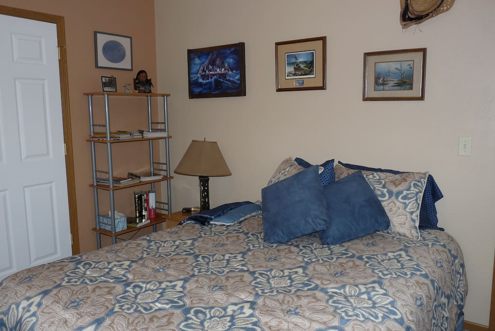 Here is your room, each supplied with extra blankets, pillows and an Air Conditioner in the warmer months.