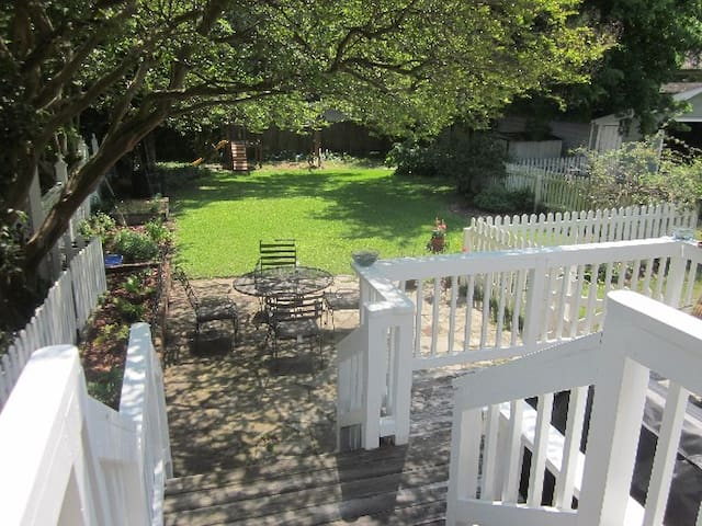 Welcome to our yard, including deck, grill, patio and fire pit.
