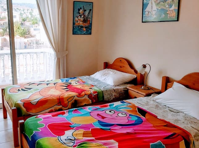 2nd BEDROOM WITH TWO BEDS AND A PRIVATE SHOWER+WC- CHILDRENS' ROOM