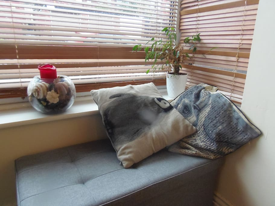 Corner seat in the sunny bay window
