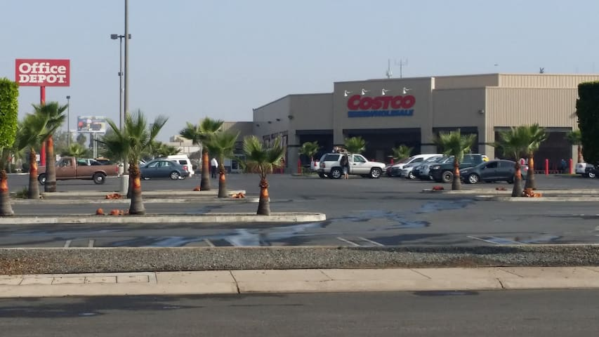 Costco is a 5 minutes walk away from the house