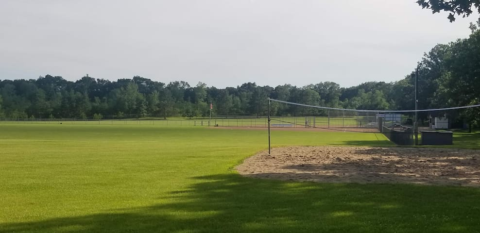 Palmer Park ball fields and sand volleyball. ( a 5-minute walk)