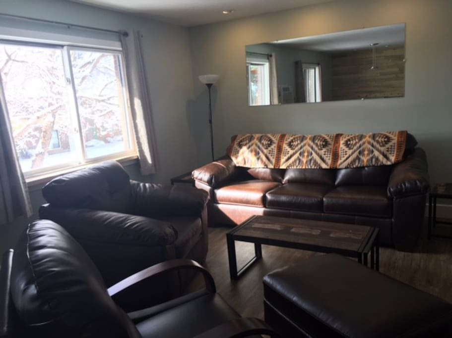 Open living room with leather furniture