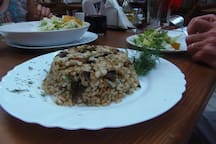 Classic rice and mushroom dish at one of Bansko's lovely restaurants