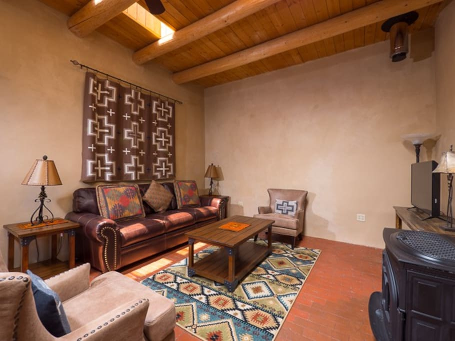 Living area with viga ceilings
